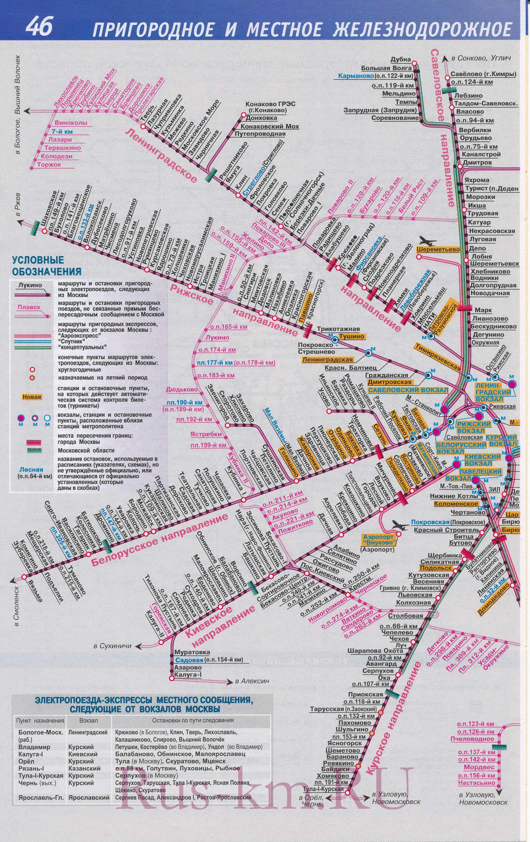 Карта пригородных железных дорог Москвы.  Карта схема линий железнодорожного сообщения Москвы.