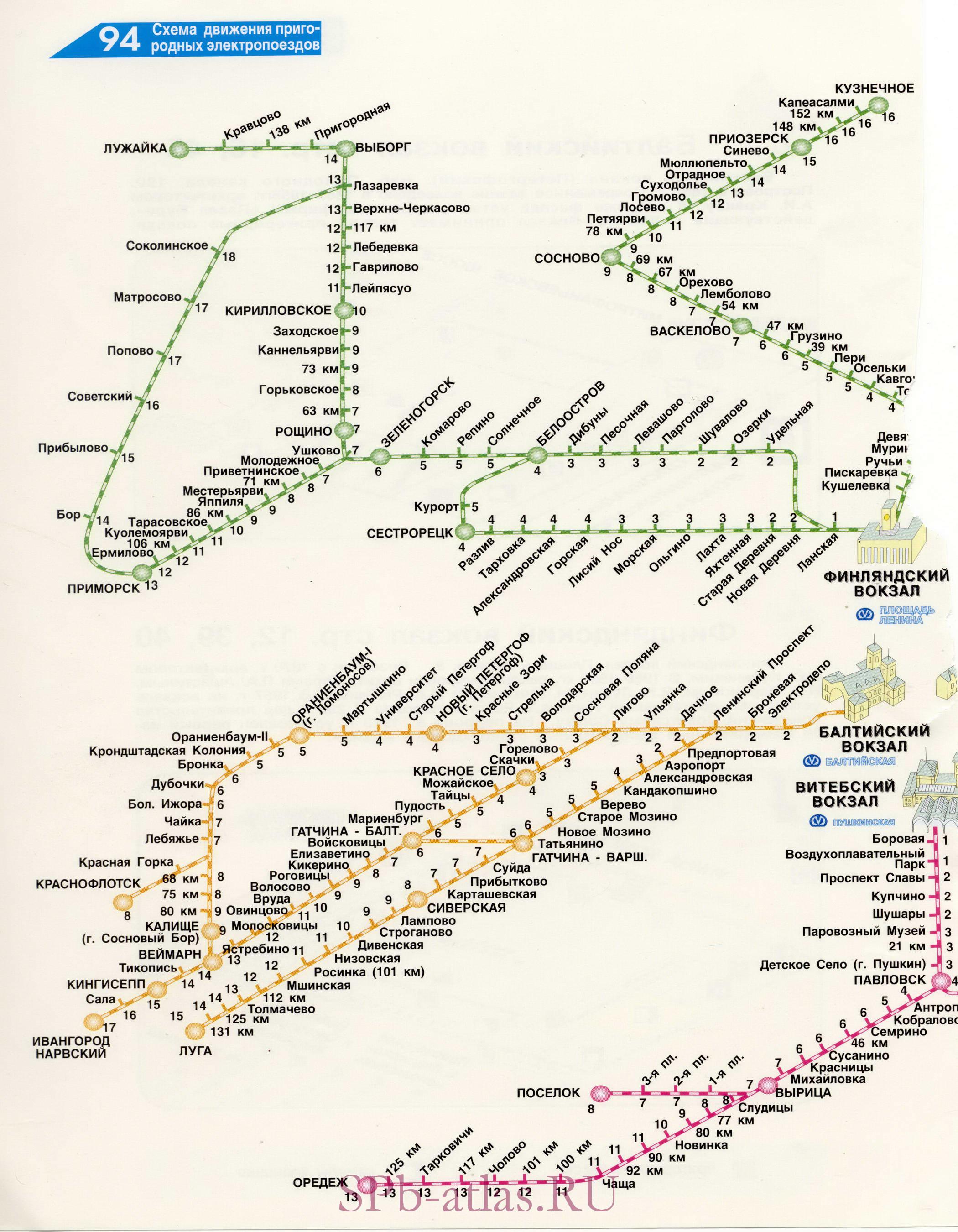 Новая подробная карта схема пригородных электропоездов Санкт-Петербурга.